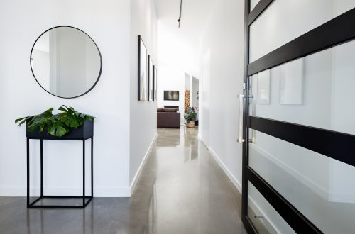 hallway with polished concrete flooring by floortex industries
