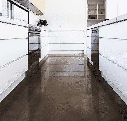 kitchen with polished concrete by floortex industries