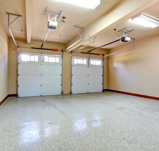 garage with seamless flakes epoxy flooring by floortex industries